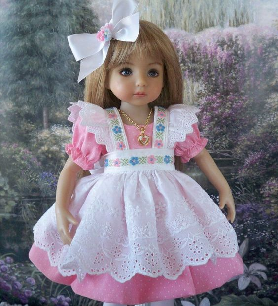 "**Pink Joy** Dress, Pinafore, Necklace, etc. for 13"" Effner Little Darling Dolls"