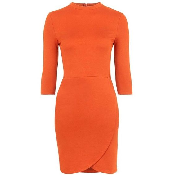 TopshopFauxWrap Body-Con Dress (€42) ❤ liked on Polyvore featuring dresses, orange dress, body con dress, topshop, three quarter sleeve bodycon dress and 3/4 sleeve bodycon dress