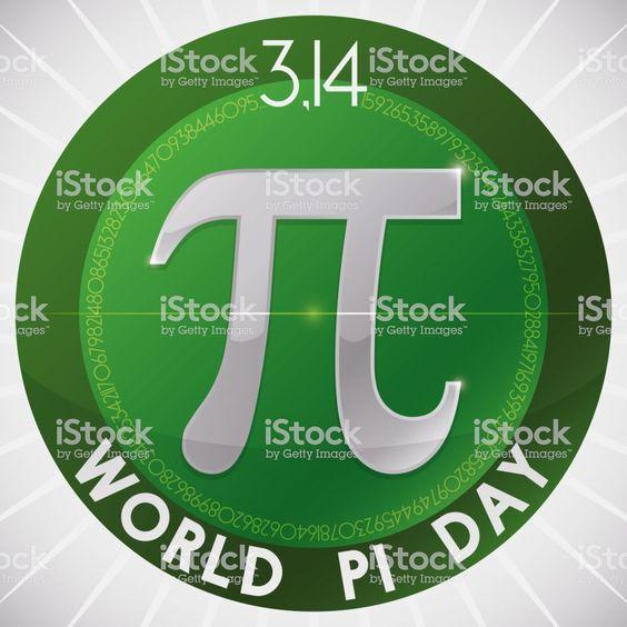Pi Symbol inside Round Button for World Pi Day Celebration