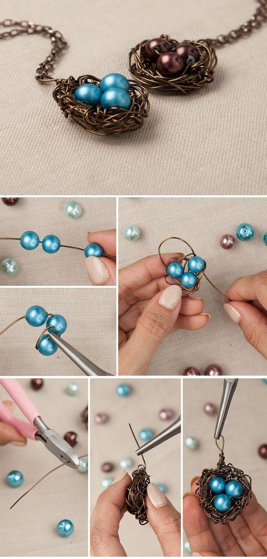 DIY Bird's Nest Necklace https://fashionornaments.wordpress.com/2015/03/03/diy-birds-nest-necklace/: