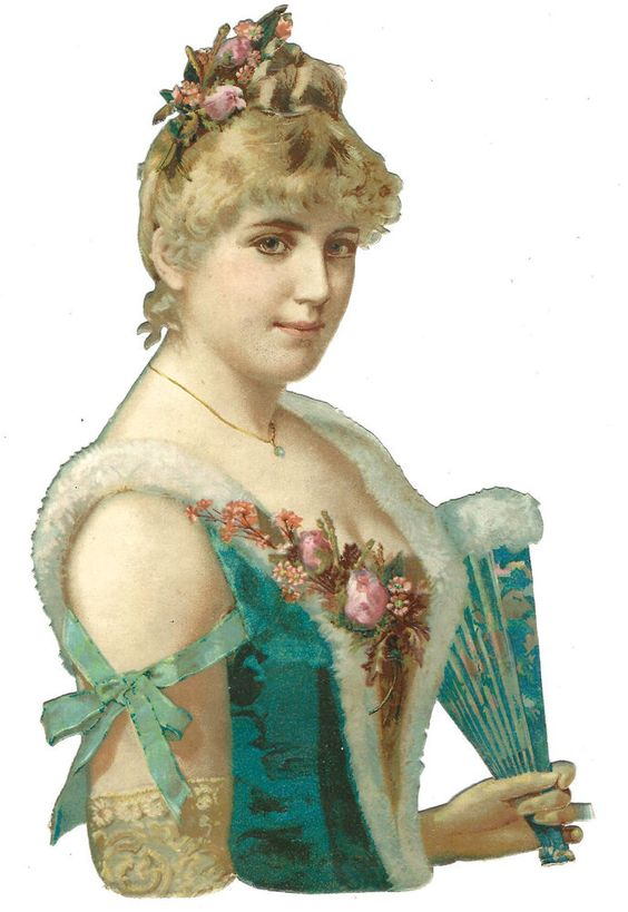 Victorian Die Cut scraps Pretty beautiful Woman Fan Roses Hair Dress Fashion fur