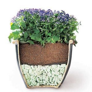 Are your yard planters too heavy to move? Use packing peanuts to cut the weight in half and improve drainage.