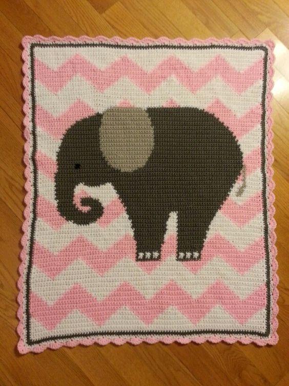 Crochet Chevron Elephant Baby Blanket My Baby Afghans