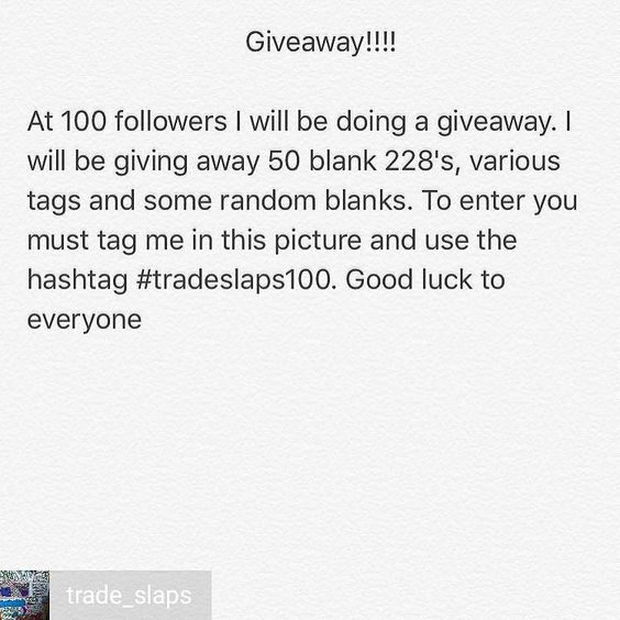 @Regrann_App from @trade_slaps -  100 follower giveawaythe winner will be announced when I hit 100 - #tradeslaps100