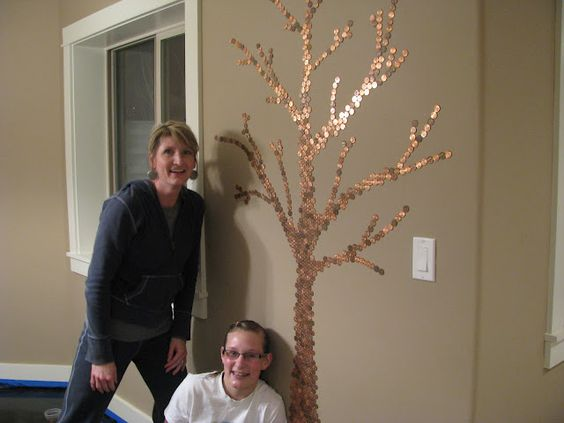 Pennies floor pennies and trees on pinterest for How to make a penny wall