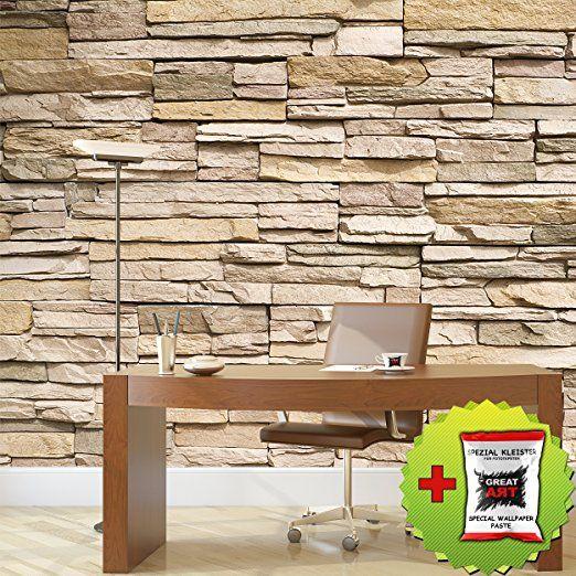 GREAT ART Fototapete Steinwand   Foto-Tapete in Steinoptik Beige   336 x 238 cm inklusive Spezial-Kleister: Amazon.de: Baumarkt