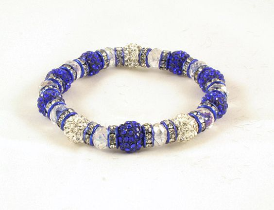 Unisex Royal Blue White stackable Rhinestones by DMCjewelry, $18.00
