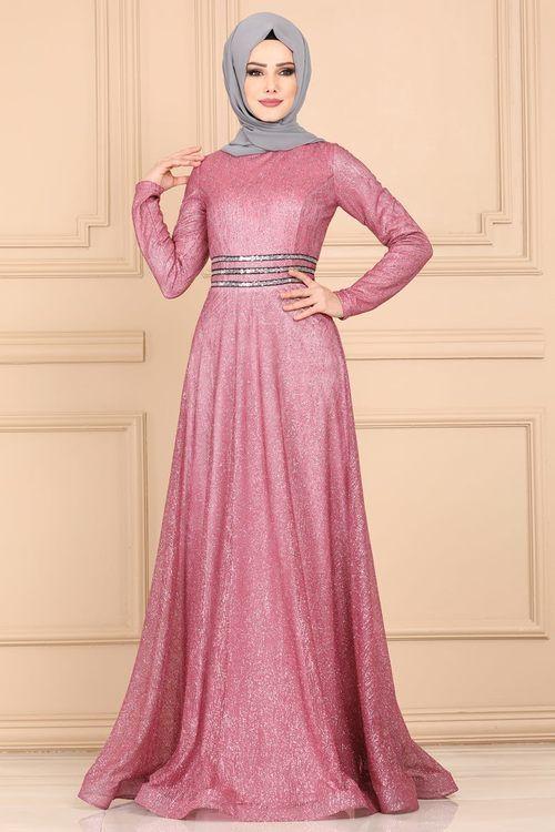 Modaselvim Abiye Beli Payetli Simli Abiye 605l263 Pudra Print Chiffon Maxi Dress Soiree Dress Dresses