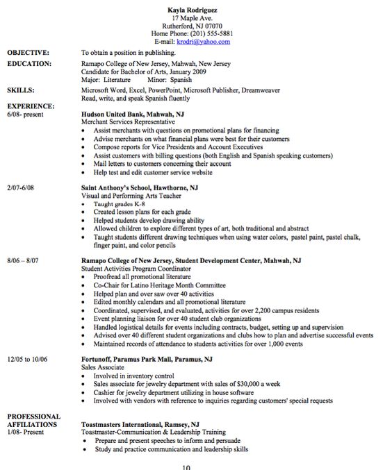 Example Of Desktop Publishing Resume - http\/\/resumesdesign - resume sales associate