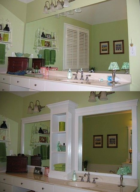 Revamp Bathroom Mirror: Before & After -- And it doesn't involve cutting or removing the mirror!    Great idea to update the old 80's look, and get a fresh look with storage and a delineted space between the two sink areas.
