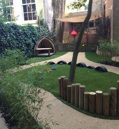 WiggersDesign | Ontwerp binnentuin KDV Amsterdam, kleine ruimte maar toch natuurlijk spelen.