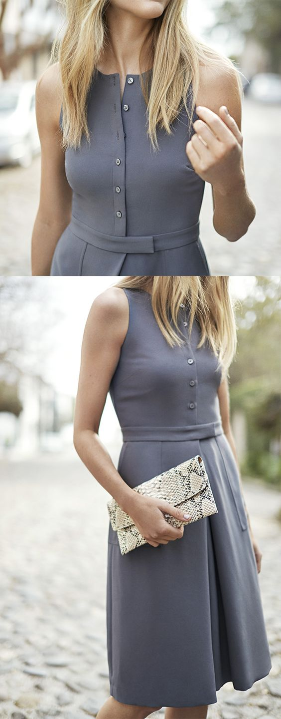 Our retro inspired gray dress is the perfect balance between modern and timeless. With the belted waist and open pleat detail, you will be set for the any ocassion this season | Banana Republic