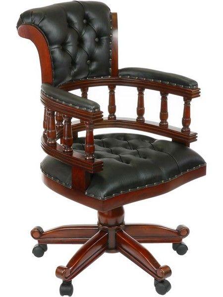 Chaises De Bureau Fauteuil Bureau Anglais Acajou Cuir Noir Oxford Meuble De Style