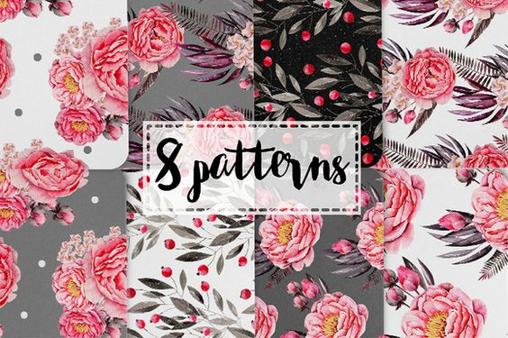 Peony BLOOM Watercolor Set by Katsia Jazwinska on @creativemarket