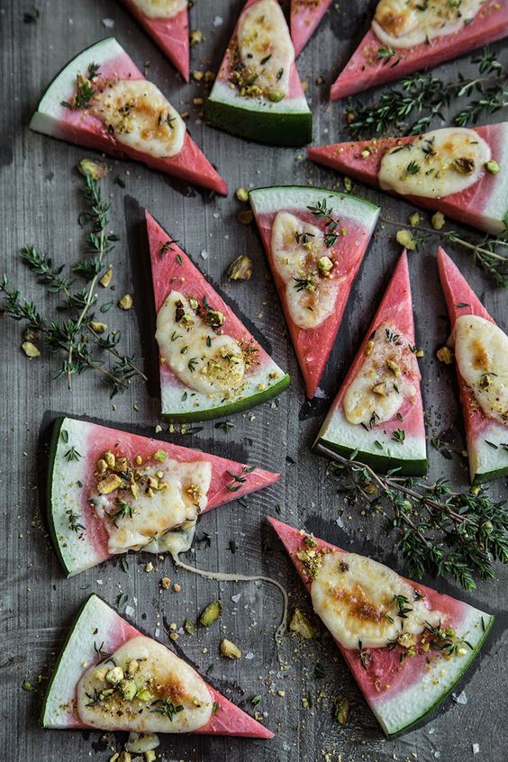 Watermelon grilled cheese with nut crumble