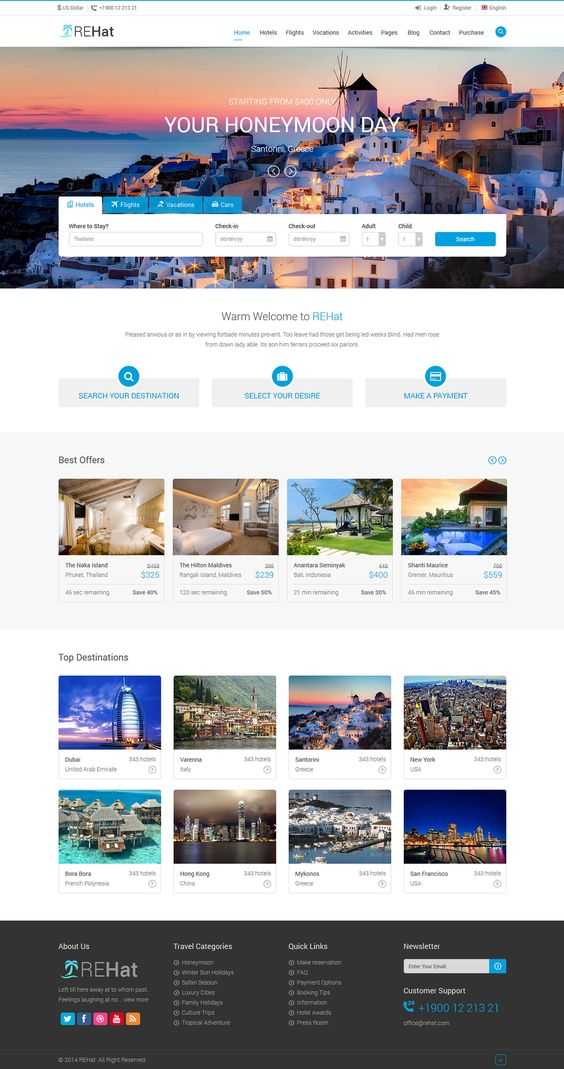 REHat - HTML5 Responsive Template for Travel System on Behance