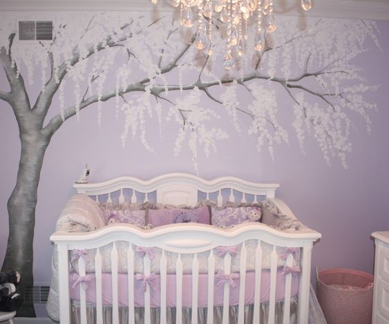 Sparkly Cherry Blossom Nursery | Project Nursery-If I ever have a baby, I would LOVE this nursery idea!