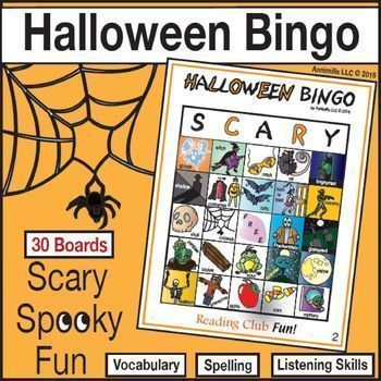 HALLOWEEN BINGO - This high-quality bingo game offers a fun, active way to foster spelling, vocabulary, and listening skills. A bit of spooky, scary fun!  Includes:  • 30 different playing boards • 50 calling cards with illustrations, vocabulary words and the letter of the column they are in • Quick Look Key –  to mark &  keep track of what cards were called. Helps to quickly verify winners. • BONUS: FREE Halloween word search puzzle to warm kids up on the vocabulary used in the game.