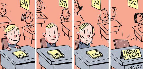Para ensinar, não é necessário reprovar, reprovar e reprovar. Ilustração: Benett: