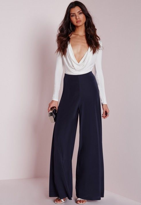 Wide Leg Slinky Trousers Navy - Trousers - Missguided