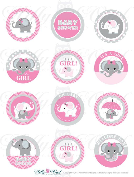 Pink Grey Girl Elephant Baby Shower Cupcake Toppers Favor