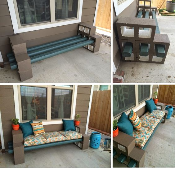 Cinder block bench cinder blocks and benches on pinterest for Diy bench with back