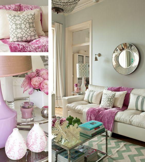 mint, white, magenta. circle mirror, chevron rug, patterned pillow
