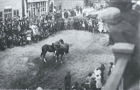 HORSE BACK WRESTLING. EUREKA,MONTANA 1910