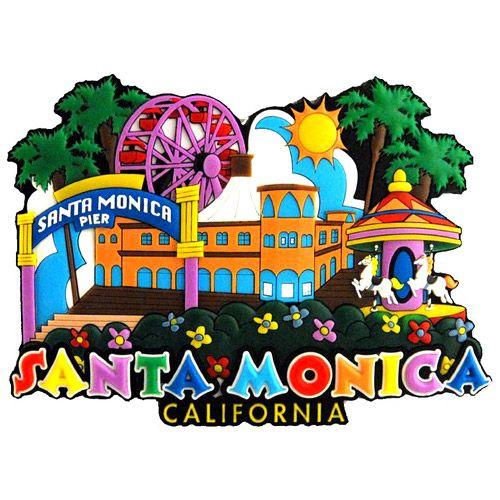 CALIFORNIA Santamonica 3D Fridge Magnet Resin Souvenir Tourist Gift Craft
