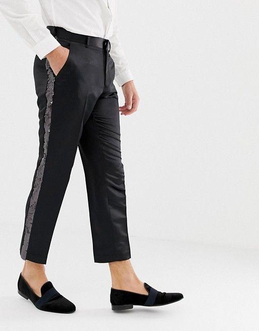 New  Men/'s Slim Fit SATIN BLACK  Men/'s Dress Pants