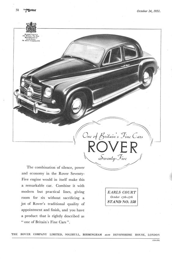 Rover 75 Motor Car Autocar Advert 1951
