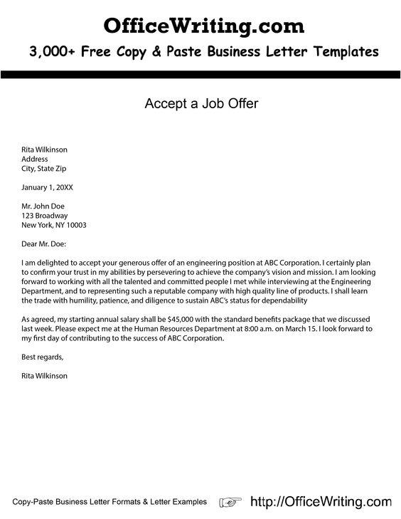 Business Letter Accept Job Offer. Sample Thank You Letter For Job ...