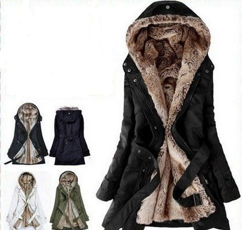 Faux Fur Women Warm Winter Hooded Coat Jacket-Freeship Worldwide ...