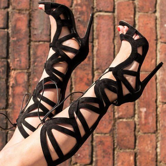 spylovebuy aisha sandales escarpins talons aiguilles lacet hauteur genoux. Black Bedroom Furniture Sets. Home Design Ideas