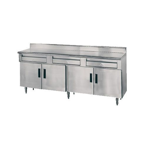 """Advance Tabco HDRC-306 30"""" x 72"""" 14 Gauge Enclosed Base Stainless Steel Work Table with 2 Drawers, 4 Hinged Doors and 5"""" Backsplash"""