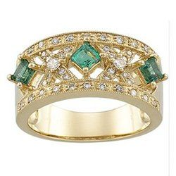 7/8 Carat Genuine Emerald & Diamond 14K Yellow Gold Ring  $995