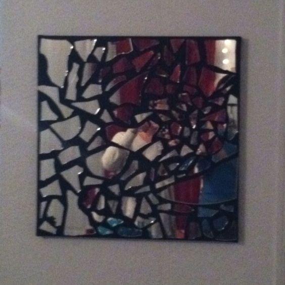 Black canvas with pieces of a broken mirror glued on for Broken mirror craft ideas