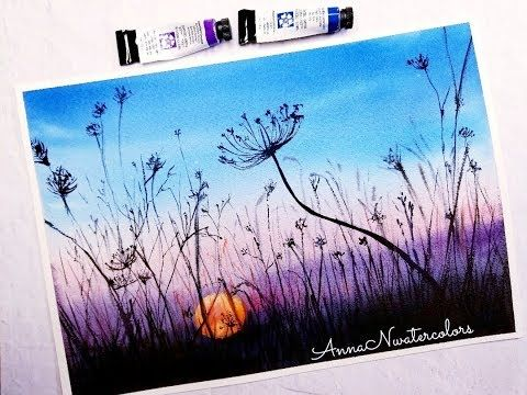 Easy Sunset In The Fields Watercolor Painting Landscape For