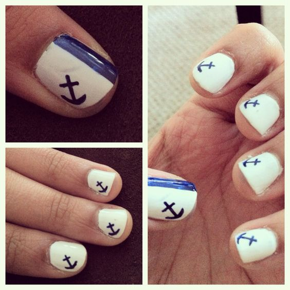 """Anchor nails for a nautical summer feel, try OPI """"Russian Navy"""" blue for this look: http://www.lovelyskin.com/details.asp?PID=120348=981=2"""