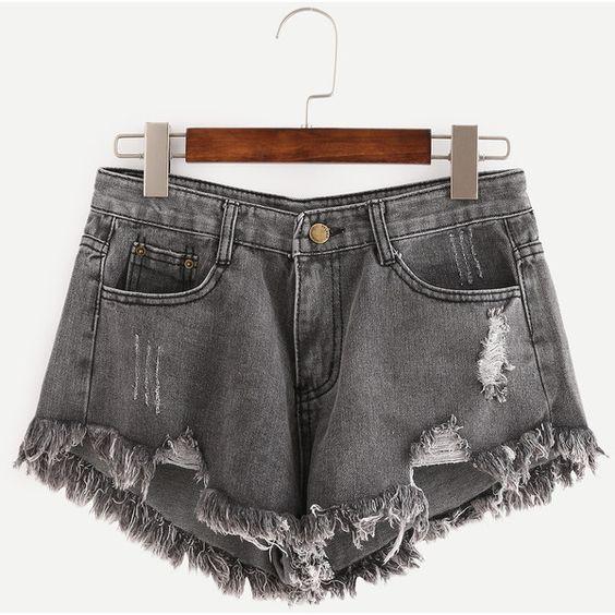 Grey Ripped Fringe Denim Shorts ($11) ❤ liked on Polyvore featuring shorts, grey, grey shorts, ripped shorts, grey denim shorts, gray shorts and destroyed shorts