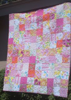 Pink vintage sheet quilt - The Vintage Sheet Blog