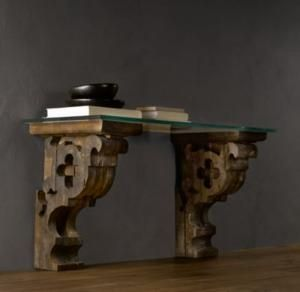 Corbel glass console shelving cabinets restoration hardware home sweet home items - Restoration hardware entry table ...