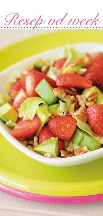 Avo and strawberry salad | Avokado en aarbei slaai #recipe #vegetarian