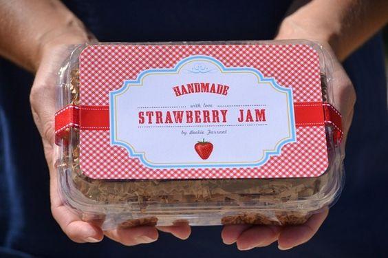 darling + free handmade strawberry jam labels