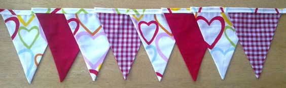 Red Gingham Hearts Fabric Bunting by MollyFelicityDesigns on Etsy, £10.00