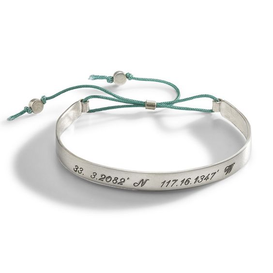 Sirena Longitude Latitude Personalized Cuff Bracelet