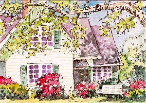"My 46th ACEO. 2.5x3.5"" Watercolor + Ink. Jillian Crider. ""The Perfect Garden"" 2005. This was the first of quite a few houses I did at this time."