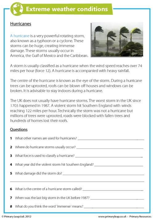 PrimaryLeap.co.uk - Extreme Weather Conditions - Hurricanes Worksheet
