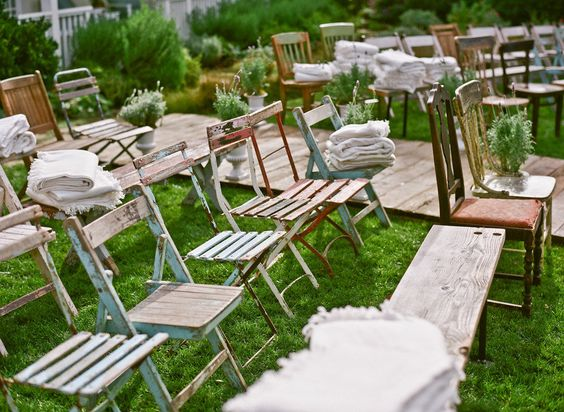 Eclectic backyard ceremony seating - love it!: