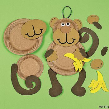 Monkey plate craft......MOM could u print a pic of this? Finally a not do scary monkey!